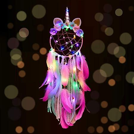 Unicorn Dream Catcher,Nice Dream LED Dream Catcher Handmade Dream Catchers for Bedroom,Feather Wall Hanging,Wedding Party Decor