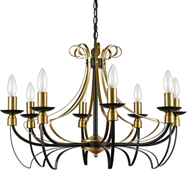 Dazhuan Farmhouse Dining Room Chandeliers Metal 8-Light Candle Style Brass Black Chandelier