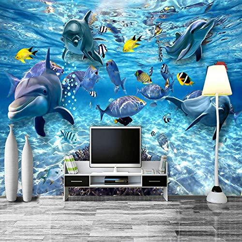 Msrahves fotomurales xxl Océano colorido peces de aguas profundas póster 3D Fotomural Papel Pintado No Tejido Wallpaper TV murales papel para pared foto decorativo XXL Papel pintado tejido no tejido