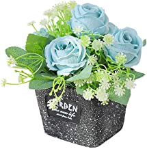 Cigou Living Room Tabletop Fake Flower Plant Set with Potted Artificial Flowers (Blue)
