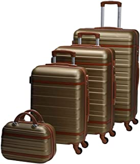 Chalish Luggage Trolley Bags for unisex 4pcs, Gold