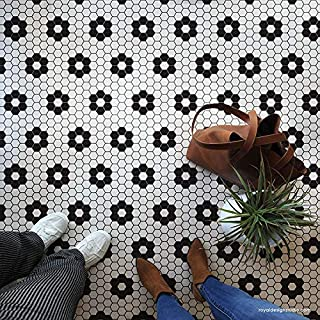 Hexagon Tile Floor Stencil - Classic Retro Penny Tiles Pattern for Painting Floors - Floor Tile Stencils - Bathroom Floor Stencils - Painted Floor Decals - Floor Tile Stickers