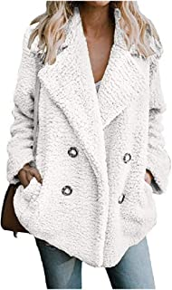Howely Women Pure Autumn Winter Turn Down Collar Button Plush Coat with Pockets