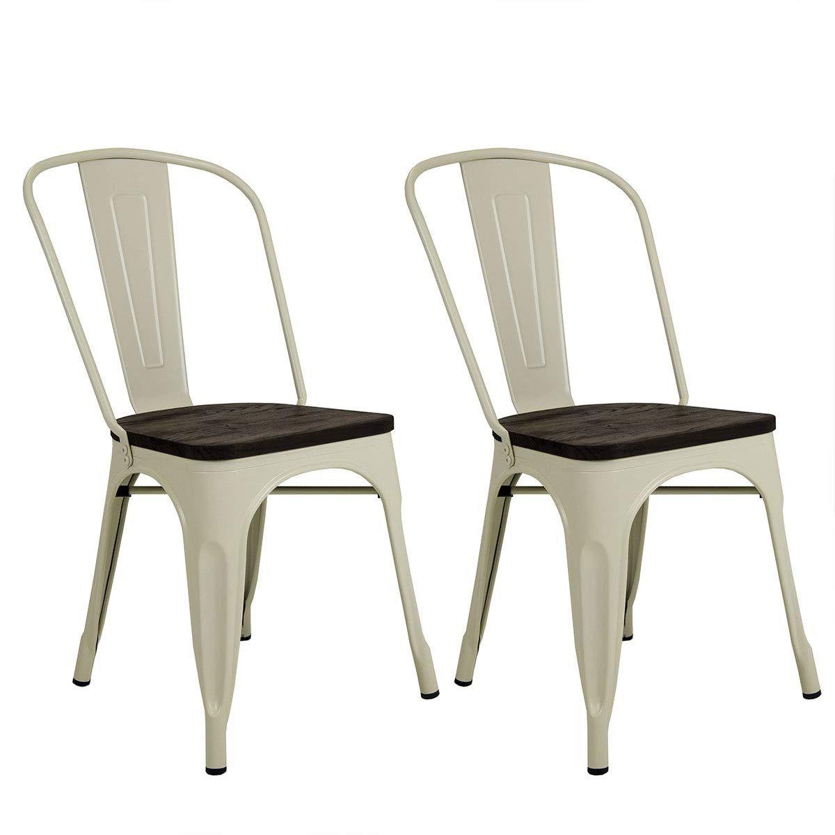 Charles Bentley Pair of 2 Steel Metal Industrial Wood Top Kitchen Dining Chairs