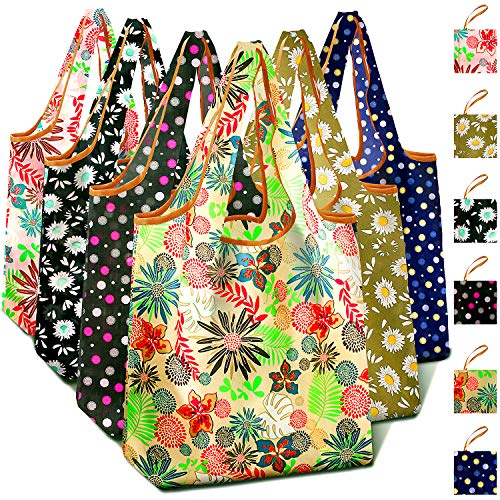 Flora 6 Pack Reusable Shopping Nylon Cloth Totes Gift Bags Small Size Folded into Small Pouch Durable For Shopping Trip