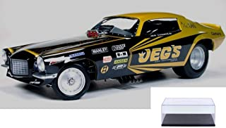 Auto World Diecast Car & Display Case Package - 1970 Jeg's Chevy Camaro NHRA Funny Car, Black w/ Gold Legends - 1/18 Scale diecast Model car w/Display Case