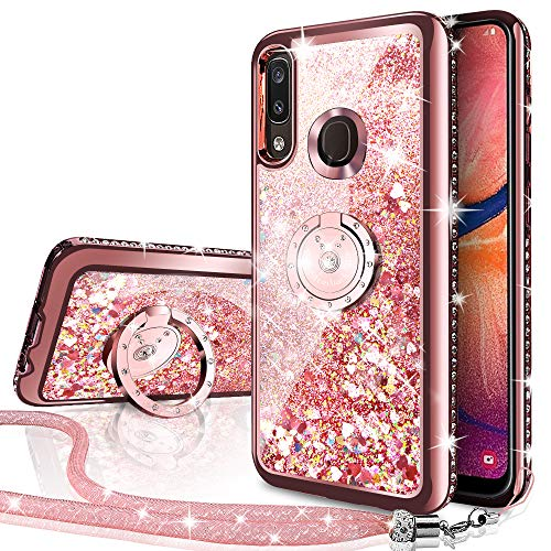 Miss Arts Funda Huawei P Smart 2019,[Silverback] Carcasa Brillante Purpurina con Soporte, Transparente Cristal Telefono Fundas Case Cover para Huawei P Smart 2019/Honor 10 Lite -Rose Oro