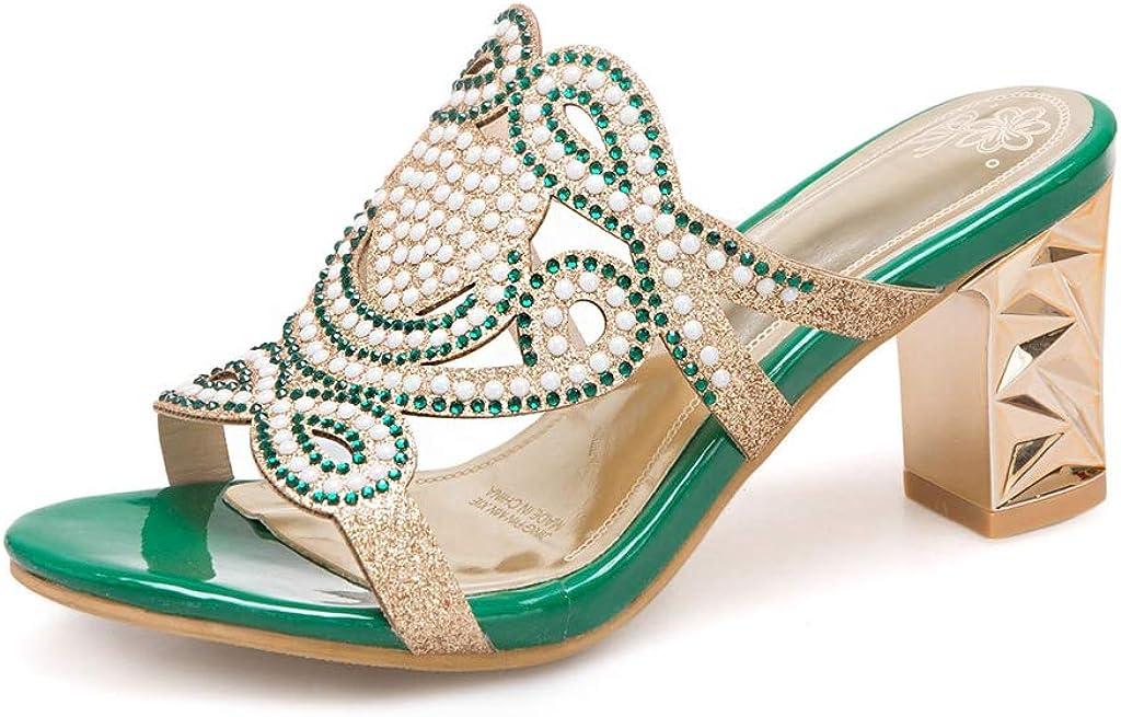 MIOKE Women's Fashion Sparkly Rhinestone Heeled Sandals Open Toe Comfy Block High Heel Dress Slide Sandal