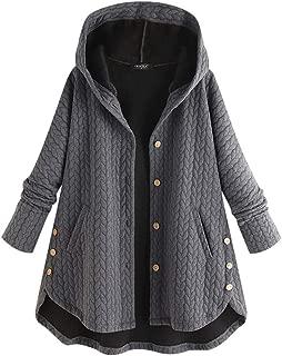 aihihe Women Plus Size Hooded Sweatshirts Button Down Hoodies Pullover Long Sleeve Faux Fur Winter Warm Coats Jackets