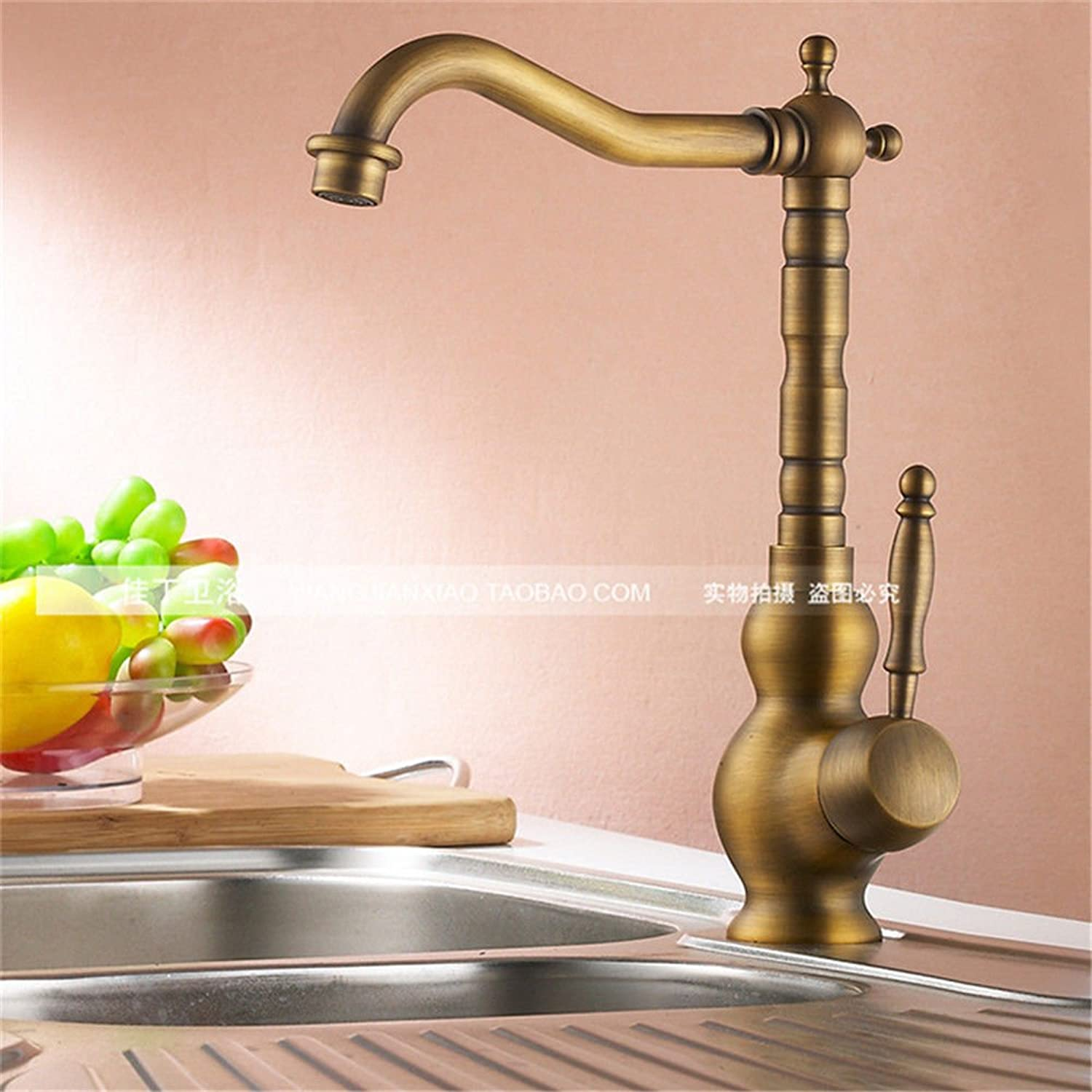 ETERNAL QUALITY Bathroom Sink Basin Tap Brass Mixer Tap Washroom Mixer Faucet All copper antique copper basin of hot and cold Kitchen Sinks Faucets antique table basin ba