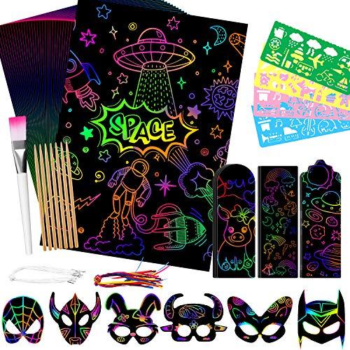 Juego de 99 hojas de papel para rascar para niños y niñas, regalo negro, kit de pintura mágica para rascar, notas artísticas, tablas de papel con 7 lápices de madera para regalo