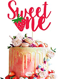 Strawberry 1st Birthday Cake Topper Red Glitter Sweet One Birthday Cake Decor So Sweet Fruit Summer Theme Kids Girls First Birthday Party Cake Supplies Decorations