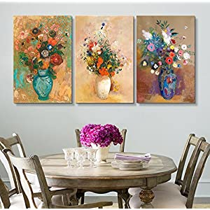"""Silk Flower Arrangements wall26 3 Panel World Famous Painting Reproduction on Canvas Wall Art - Flowers in Vases by Odilon Redon - Modern Home Art Ready to Hang - 24""""x36"""" x 3 Panels"""