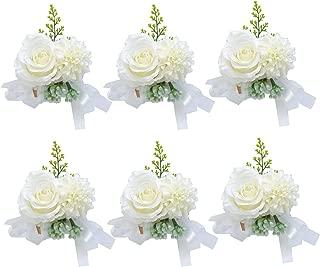 Pauwer Wedding Corsage Set of 6 Girl Bridesmaid Hand Flower Wrist Corsage Wedding Prom Party (G Corsage Set of 6)
