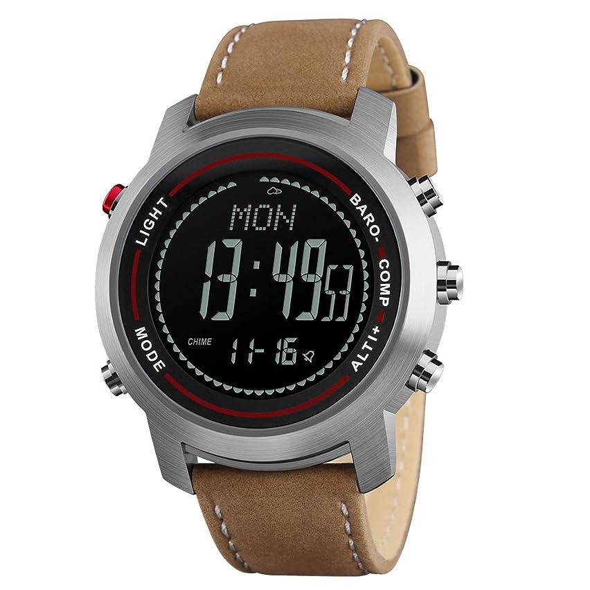 見分けるトランスペアレント散るメンズデジタル腕時計 男性デジタル腕時計 コンパス高度計バロメータ レザーストラップ おしゃれな アウトドアスポーツウォッチ 英語取扱説明書