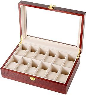 Lwieui Caja de Reloj Relojes de joyería 12 Ranuras de Madera con Cerradura Display Caja de Almacenamiento con el Vidrio Ca...