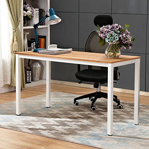 DlandHome 47 inches Medium Computer Desk, Composite Wood Board, Decent and Steady Home Office Desk/Workstation/Dining Table, BS1-12040 Teak and White Legs, 1 Pack