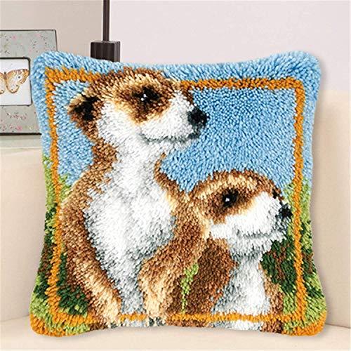 Kit de Gancho de pestillo DIY Bordado Cojín CUBIERTE CUBIERTARIO Animal Modelo Patrón Patrón de Crochet Costuras de Costura para niños Adultos Principiantes 17''x17 '', A, con Inserto de Almohada