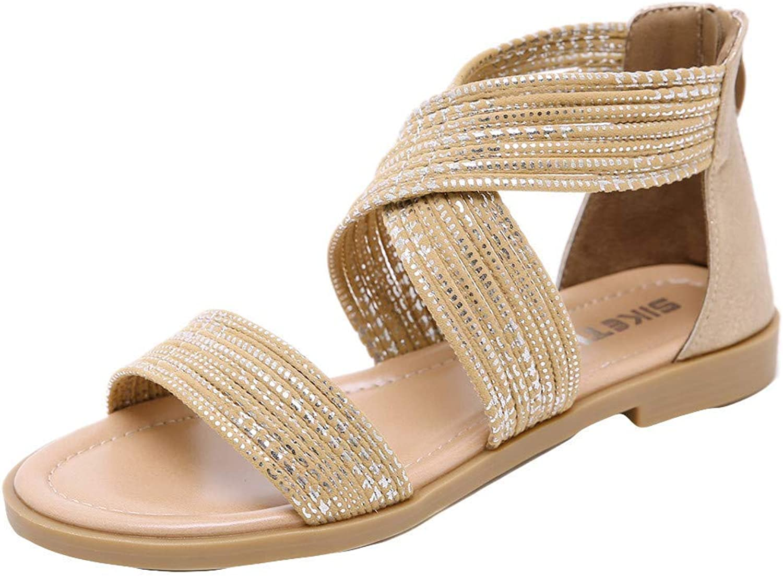 Wallhewb Caopixx Women Flat Sandals Criss-Cross Open Toe Wide Elastic Strap Fashion Summer shoes Comfortable Cool Skinny Highten Increasing Joker Soft Elegant Leg Length Beige US 5.5 shoes