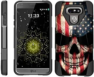 TurtleArmor | Compatible with LG G6 Case | LG G6+ Case | LG G6 Plus Case [Dynamic Shell] Hybrid Dual Layer Cover Hard Shell Kickstand Silicone Case - US Flag Skull