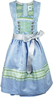 Isar-Trachten Jugend Dirndl Miriam - Hellblau - - Wunderschönes Mädchen Trachtenkleid mit transparenter Schürze - Oktoberfest Kirchweih Sonntagsausflug Hochzeit