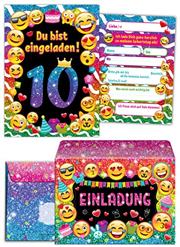 12 Einladungskarten incl. 12 Umschläge zum 10 Geburtstag für Mädchen / Einladung zehnte Geburtstag Kindergeburtstag / Einladungen zum Geburtstag / Kartenset für Kindergeburtstag / glitzer
