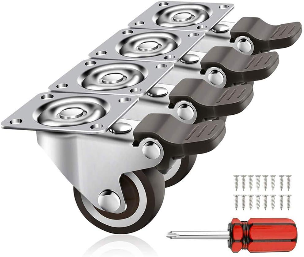 Schwerlastrollen 4er Pack 32mm Transportrollen mit Schwenkplatte, Haltbare Lenkrolle mit Bremse aus Polyurethan – Möbelroller mit 50kg…