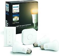 Philips Hue Starterkit - 3 Lampen - E27 - Duurzame LED Verlichting - Warm tot Koelwit Licht - Incl. Hue Bridge en dimmer s...