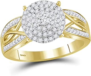 FB Jewels 10kt Yellow Gold Womens Round Diamond Circle Cluster Ring 3/8 Cttw Size 7