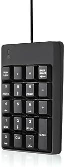 USB Numeric Keypad, Jelly Comb N001 Portable Slim Mini Number Pad for Laptop Desktop Computer PC, Full Size 19 Key, B...
