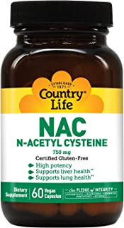 Country Life Nac (N-Acetyl Cysteine), 750 mg, 60-Count