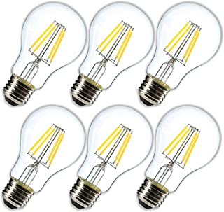 Dimmable 4W Vintage LED Filament Bulb  4000K Daylight White, Edison A19/A60 LED Light Bulbs, 40W Equivalent E26 Medium Base Lamp, Clear Glass Cover 400 Lumens, Pack of 6