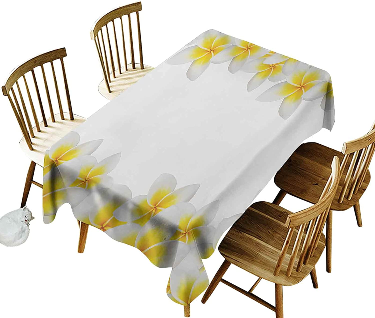 Rectangle Tablecloth,Frangipani Blossoms Exotic Nature Garden Plumeria Flower Frame Relaxation Theme, Non-Fade Washable Table Cover(Oblong 60 x 120 Inch(10-12 Seats) for Outdoor and Indoor Use