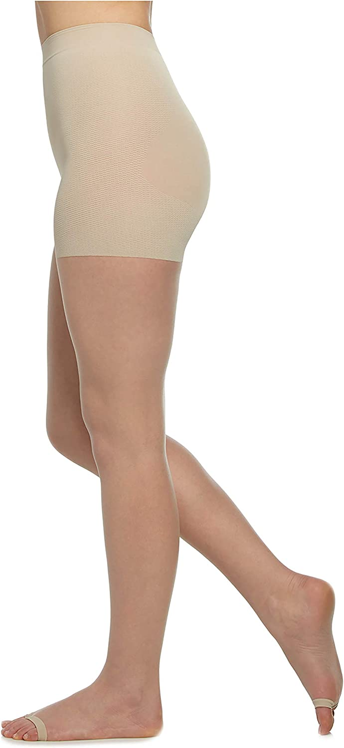 Berkshire Womens The Easy On! Luxe Ultra Nude Open Toe Pantyhose Nude X-Large