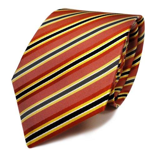 Mexx Seidenkrawatte in rot orange grau schwarz gestreift - Tie Krawatte
