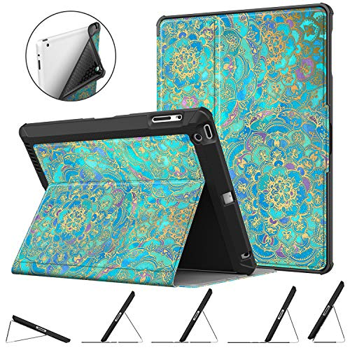 Fintie Case for iPad 4th Generation (2012 Model) / iPad 3rd Gen (2012 Model), iPad 2 (2011 Model) 9.7 inch Tablet - Multi-Angle Viewing Rugged Soft TPU Back Cover Auto Sleep/Wake, Shades of Blue