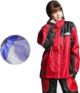 PENGFEI 恋人たち レインコートポンチョ ジャケット ズボン セット ライディング 制服 反射ストリップ 通気性のある、 4色 5サイズ (色 : Red, サイズ さいず : XXXL)