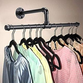 BSTKEY Rustik stat industriell väggmonterad dubbel rörhängare hållare ställning kläder bar handdukshållare hängare, svart