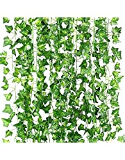 Stathm Artificial Ivy Leaf Plants Vine - Hanging Garland Fake Foliage Flowers Home Kitchen Garden Office Wedding Wall Decor (12 Strands, 84 Feet, Green)