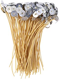 ULTNICE 200pcs Cotton Candle Wick with Metal Tabs 20cm Pre- Waxed Candle Cores for DIY Candle Making