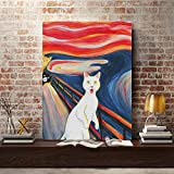 hetingyue Wall Art Canvas Picture cat Poster modular Animal Nordic Cartoon Painting HD Print Bedroom Frameless Painting 60X90CM