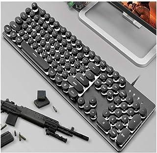 MINHUISHANGMAO Keyboard, Backlit Ultra-thin Mechanical Hand Computer Keyboard, Retro Classic Style Design (black Glare Yel...