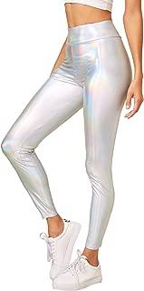 SOLY HUX Women's High Waist Metallic Leggings Sexy Skinny Shiny Pants