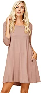 Annabelle Women's Comfy Scoop Neck 3/4 Sleeve Swing Dress with Pockets