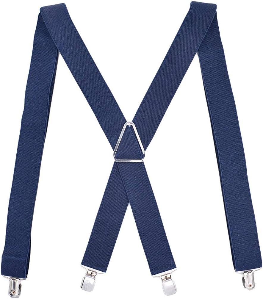 X-Back Suspenders 1.4Wide 49Long Heavy Duty Braces/&Metal Fixed Strip/&4 Clips