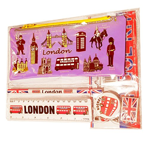 # 1 bestseller All In One School Kit - London Souvenir - Pen / Potlood Case, Scherper, Gumper/Rubber, Liniaal (inches/cm) - Trousse/Federmappchen / Caja de Lapices / Astuccio - Roze - ALLES LONDON - Zwarte Cabine/Rode Telefoondoos / Londen Bus / Royal Guard / Beefeater / Tower of London / Big Ben Westminster Abdij / Tower Bridge / St Paul's Cathedral - Top Quality Product