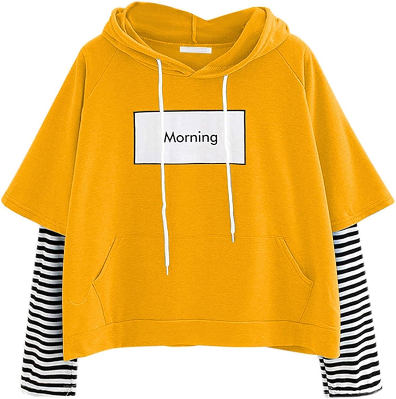 Hemlock Teen Girls Sweatshirts Striped Long Sleeve Hooded Pullover Tops Juniors Hoodie Letter Print Top with Pocket