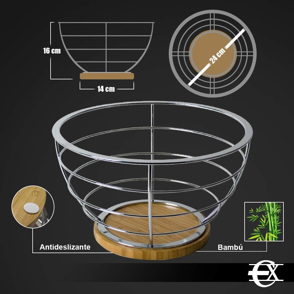 Gran Capacidad de Frutas EUROXANTY/® Frutero de Metal Cuadrado Bamb/ú Almacenaje de Frutas Frutero de dise/ño para Cocina Acero Cromado 22 cm