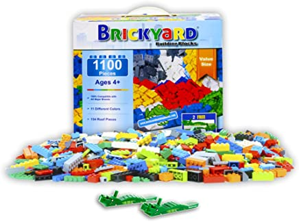 Brickyard Building Blocks Building Bricks - 1100 Pieces Toys Bulk Block Set with 154 Roof Pieces, 2 Free Brick Separators, and Reusable Storage Box, Compatible with All Major Brands
