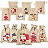 DERAYEE 36Pcs Christmas Jute Burlap Gift Bags with Drawstring, Small Craft Canvas Goodie Bags for Xmas Party Wedding Supplies (10 * 14 cm))